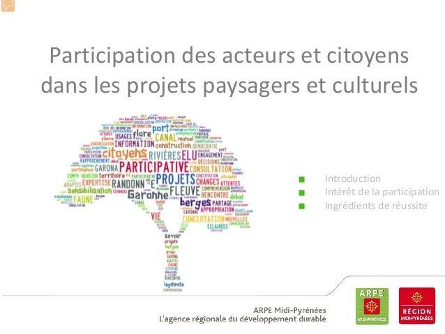 Participation des acteurs et citoyens dans les projets paysagers et culturels  Introduction Intérêt de la participation in...