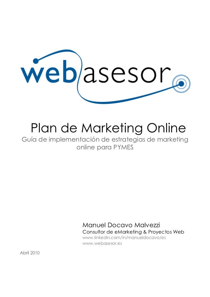 Plan de Marketing Online Guía de implementación de estrategias de marketing                online para PYMES              ...