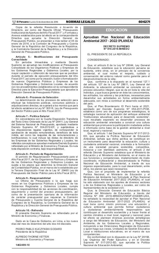 606271NORMAS LEGALESLunes 12 de diciembre de 2016El Peruano / Copia de la referida Resolución o Acuerdo de Directorio, así...