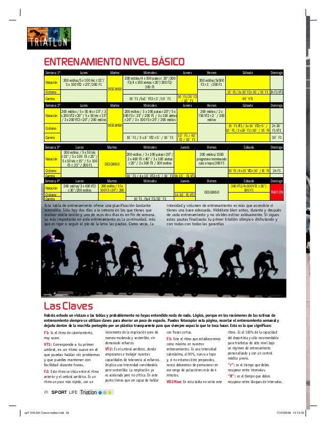 20 TriatlonSPORT LIFELas ClavesEsta tabla de entrenamiento ofrece una planificación bastanterazonable. Sólo hay dos días a...