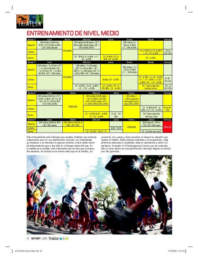 22 TriatlonSPORT LIFEENTRENAMIENTO DE NIVEL MEDIOSemana1ª Lunes Martes Miércoles Jueves Viernes Sábado DomingoNatación200 ...
