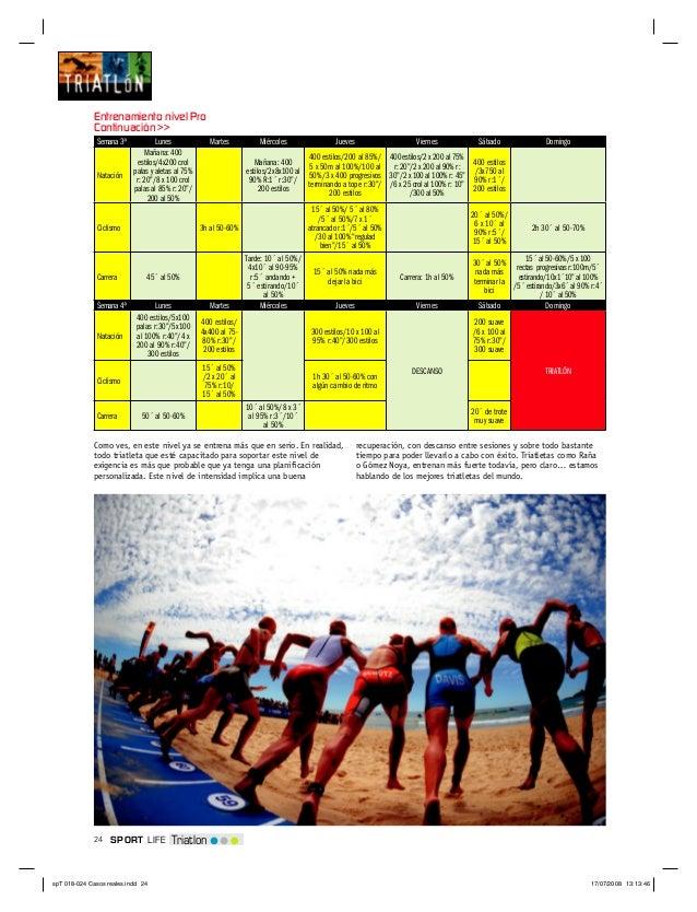 24 TriatlonSPORT LIFESemana 3ª Lunes Martes Miércoles Jueves Viernes Sábado DomingoNataciónMañana: 400estilos/4x200 crolpa...