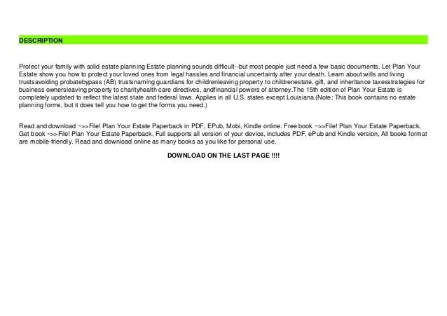 ~>>File! Plan Your Estate Paperback Slide 3