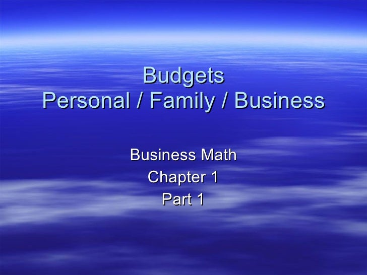 Lesson Plan 1 Budgets Business Math