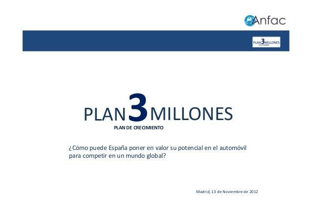 PLAN            3MILLONES               PLAN DE CRECIMIENTO¿Cómo puede España poner en valor su potencial en el automóvilp...