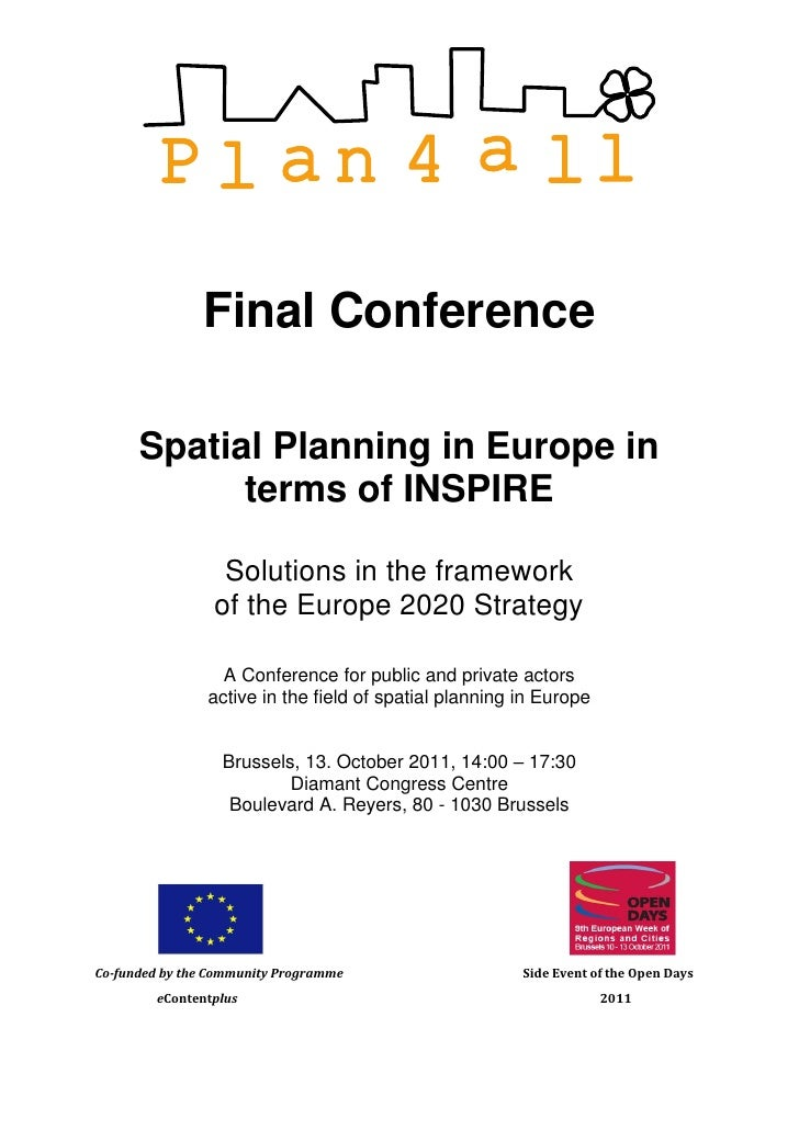 Final Conference      Spatial Planning in Europe in            terms of INSPIRE                  Solutions in the framewor...