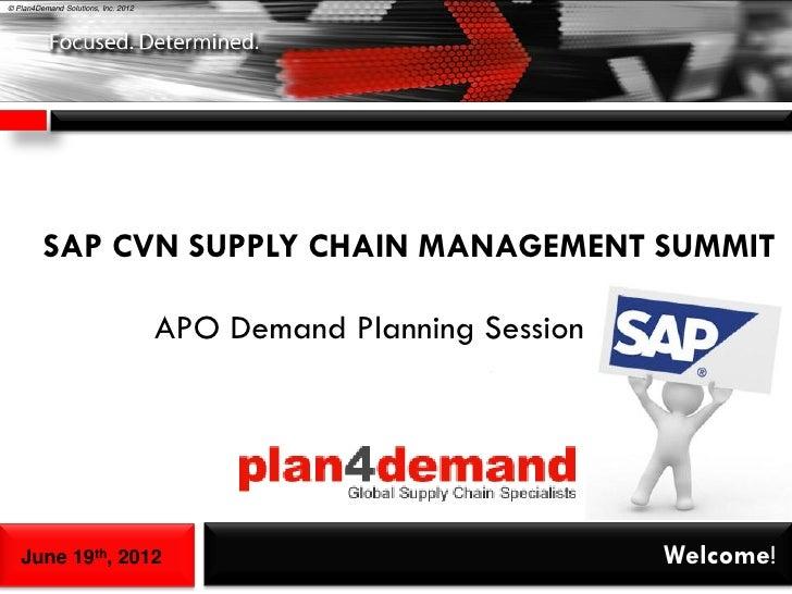 © Plan4Demand Solutions, Inc. 2012         SAP CVN SUPPLY CHAIN MANAGEMENT SUMMIT                                     APO ...