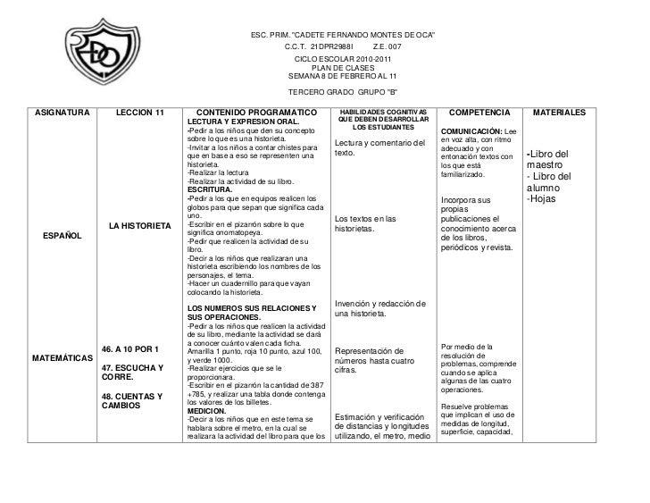 """-1905-17780ESC. PRIM. """"CADETE FERNANDO MONTES DE OCA""""C.C.T.  21DPR2988I          Z.E. 007CICLO ESCOLAR 2010-2011PLAN DE CL..."""