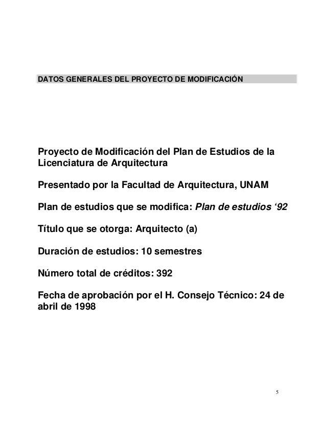 Plan de estudio arquitectura unam for Arquitectura 5 de mayo plan de estudios