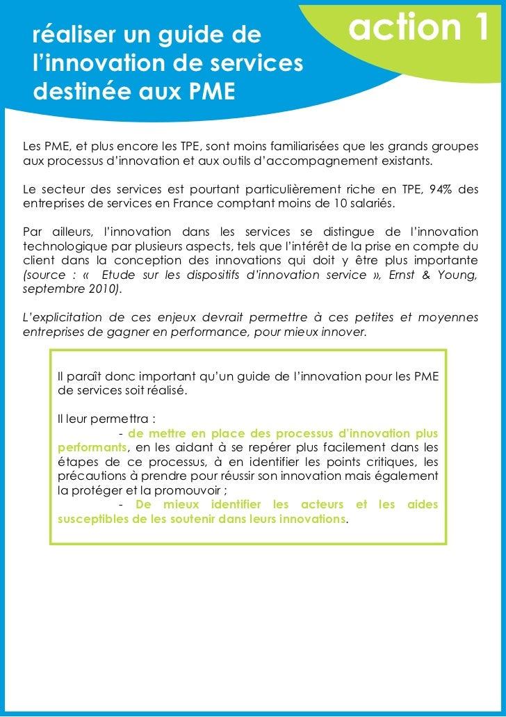 réaliser un guide de                                   action 1 l'innovation de services destinée aux PMELes PME, et plus ...