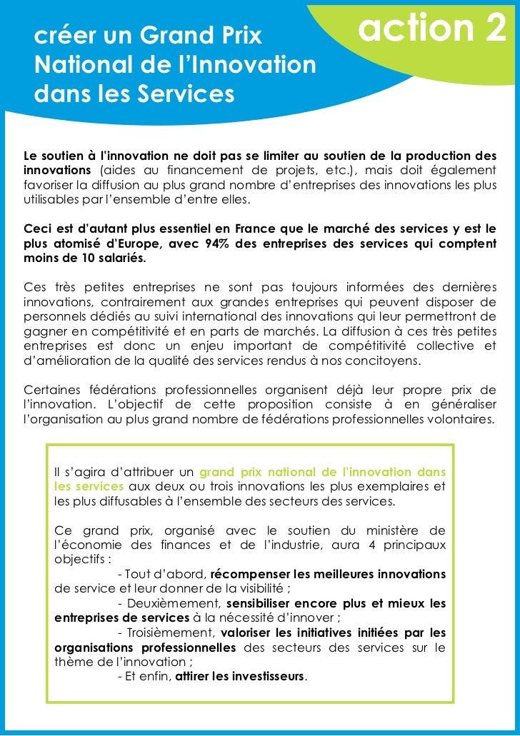 créer un Grand Prix                                       action 2 National de l'Innovation dans les ServicesLe soutien à ...
