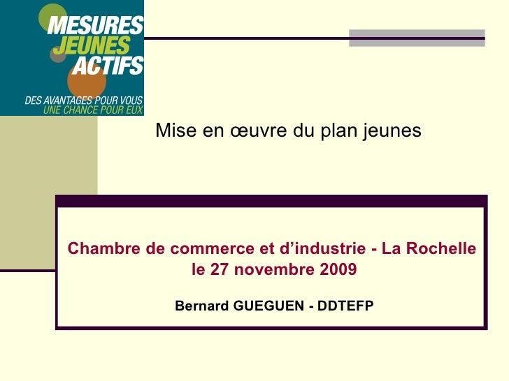 Chambre de commerce et d'industrie - La Rochelle  le 27 novembre 2009 Bernard GUEGUEN - DDTEFP Mise en œuvre du plan jeunes