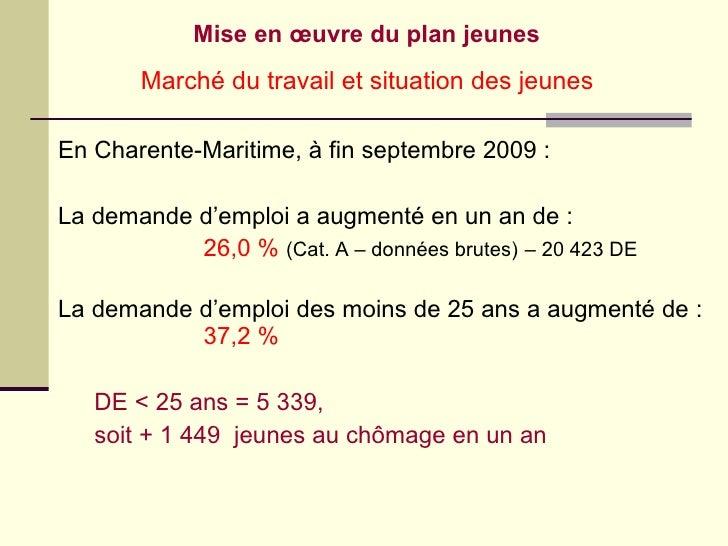 Mise en œuvre du plan jeunes <ul><li>En Charente-Maritime, à fin septembre 2009 : </li></ul><ul><li>La demande d'emploi a ...