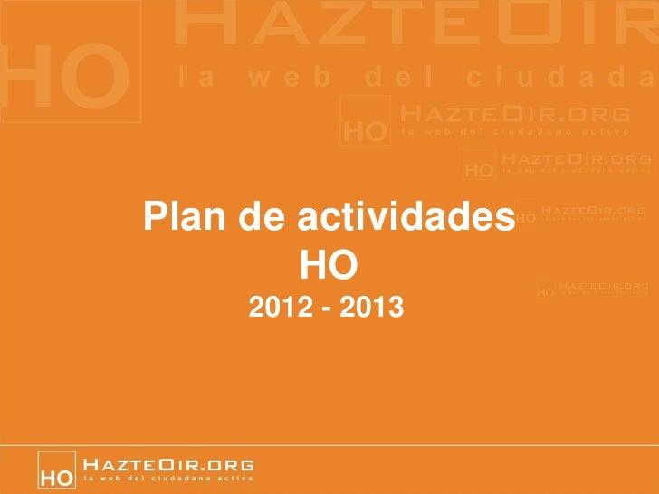 Plan de actividades        HO     2012 - 2013