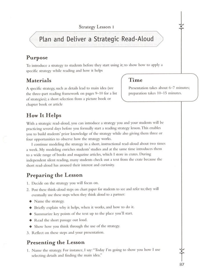 Plan and deliver a strategic read aloud   from teaching reading by laura robb