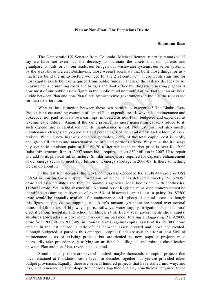 Plan or Non-Plan: The Pernicious Divide<br />Shantanu Basu<br />The Democratic US Senator from Colorado, Michael Bennet, r...