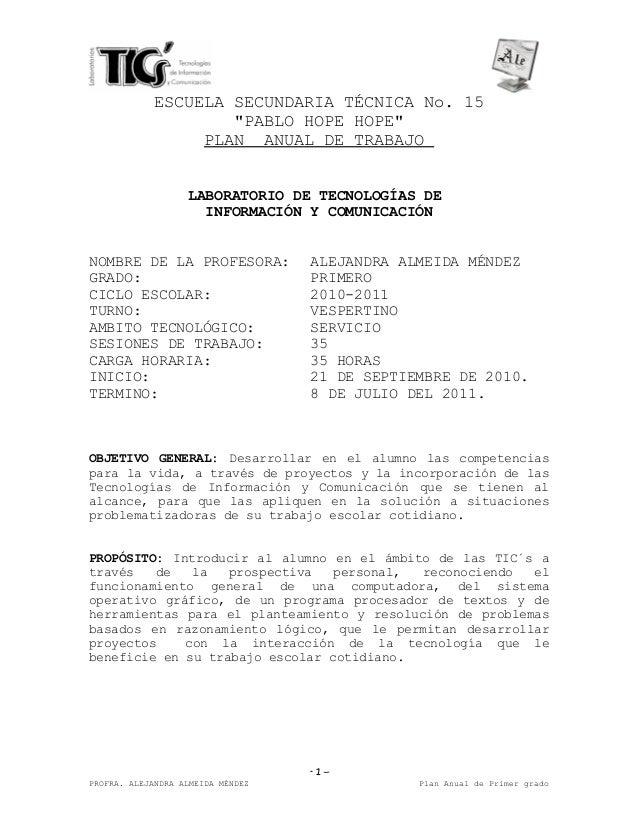 """ESCUELA SECUNDARIA TÉCNICA No. 15 """"PABLO HOPE HOPE"""" PLAN ANUAL DE TRABAJO LABORATORIO DE TECNOLOGÍAS DE INFORMACIÓN Y COMU..."""
