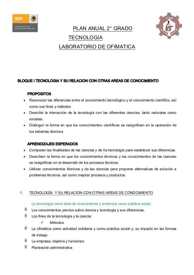 PLAN ANUAL 2° GRADO TECNOLOGIA LABORATORIO DE OFIMATICA  BLOQUE I TECNOLOGIA Y SU RELACION CON OTRAS AREAS DE CONOCIMIENTO...