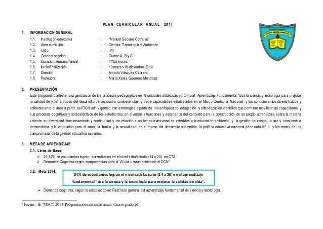 "PLAN CURRICULAR ANUAL 2014 1. INFORMACIÓN GENERAL 1.1. Institución educativa : ""Manuel Seoane Corrales"" 1.2. Área curricul..."