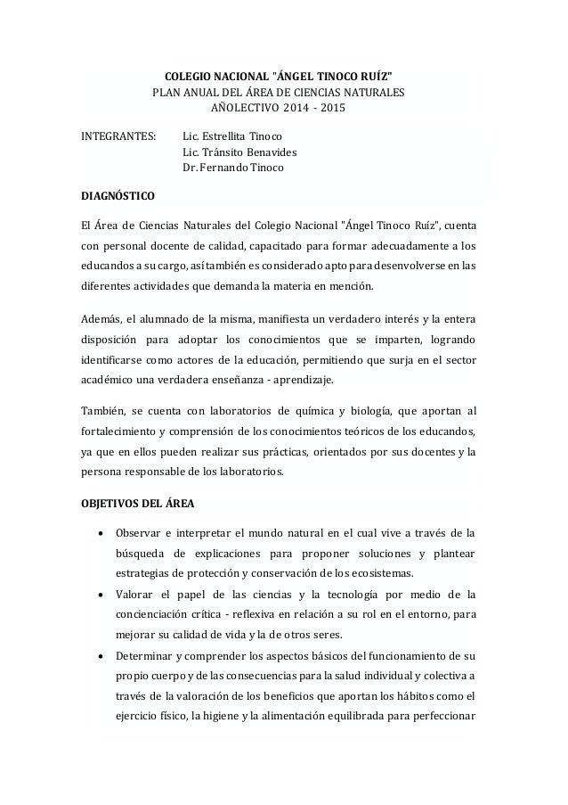 Plan anual de ciencias naturales colegio 2014