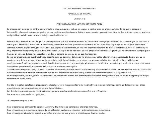 ESCUELA PRIMARIA 24 DE FEBRERO                                                                    PLAN ANUAL DE TRABAJO   ...