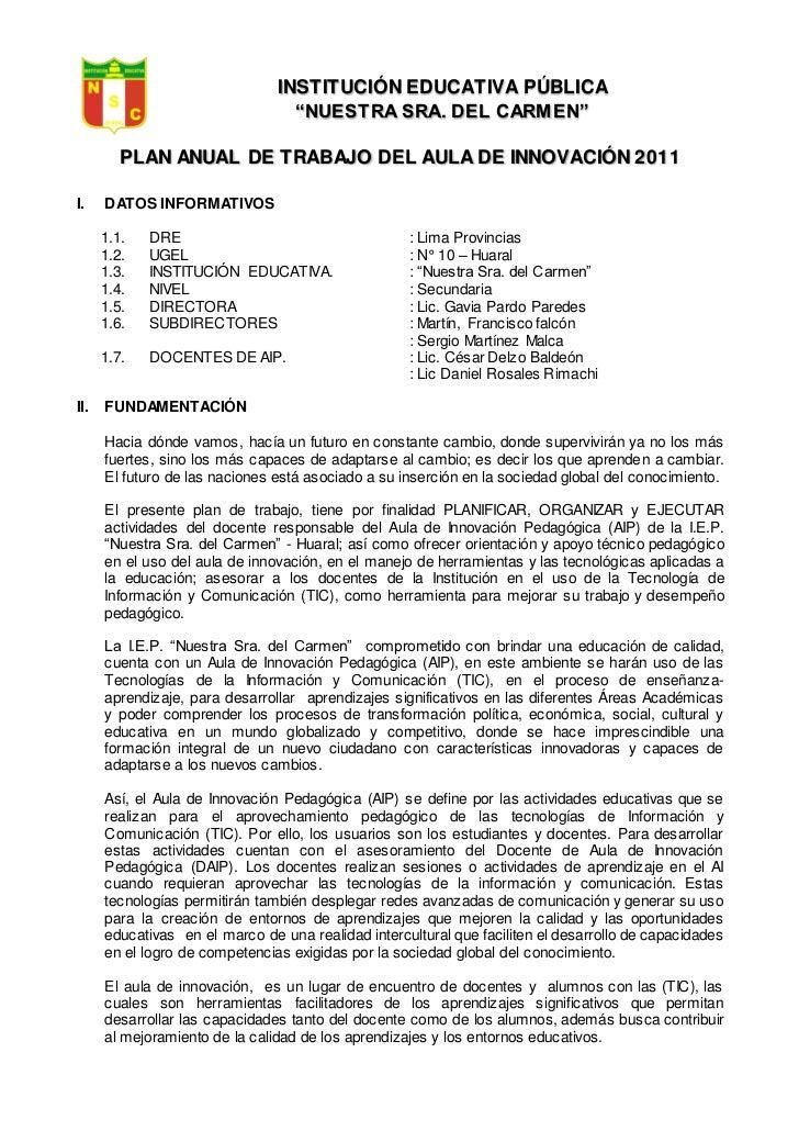 """INSTITUCIÓN EDUCATIVA PÚBLICA                                  """"NUESTRA SRA. DEL CARMEN""""         PLAN ANUAL DE TRABAJO DEL..."""