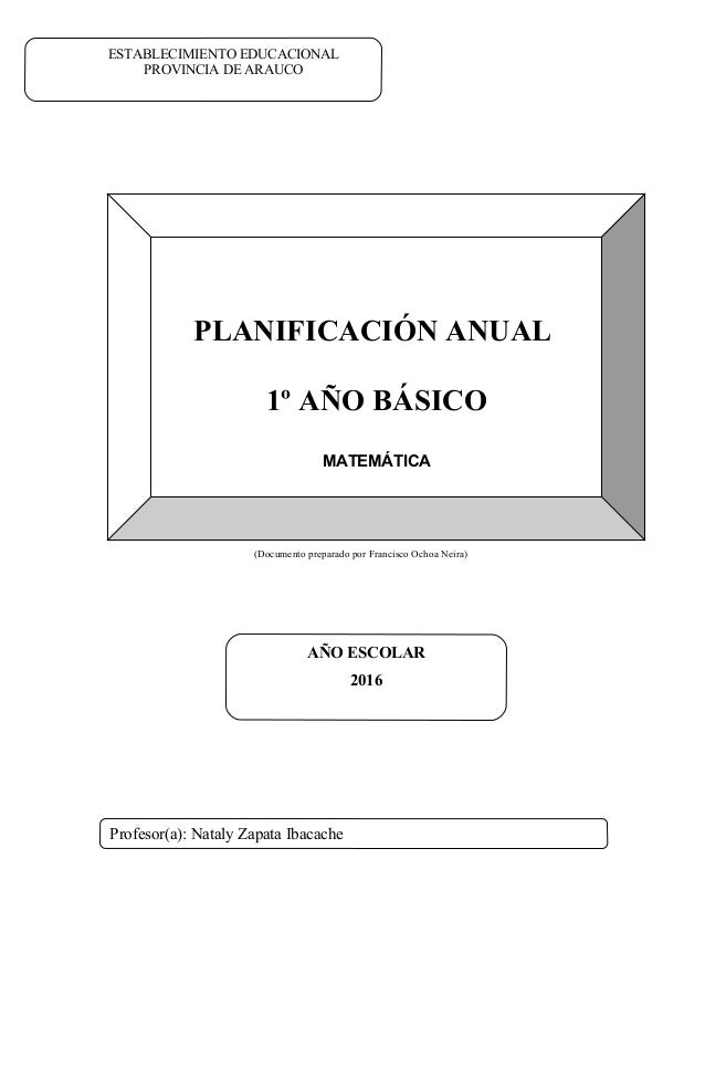 (Documento preparado por Francisco Ochoa Neira) PLANIFICACIÓN ANUAL 1º AÑO BÁSICO MATEMÁTICA ESTABLECIMIENTO EDUCACIONAL P...