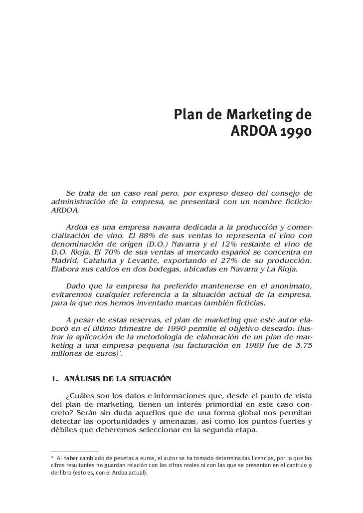 Plan de Marketing de                                                         ARDOA 19901   Se trata de un caso real pero, ...