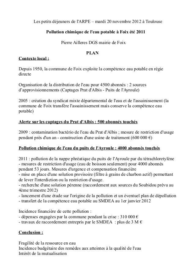 Les petits déjeuners de lARPE – mardi 20 novembre 2012 à Toulouse               Pollution chimique de leau potable à Foix ...