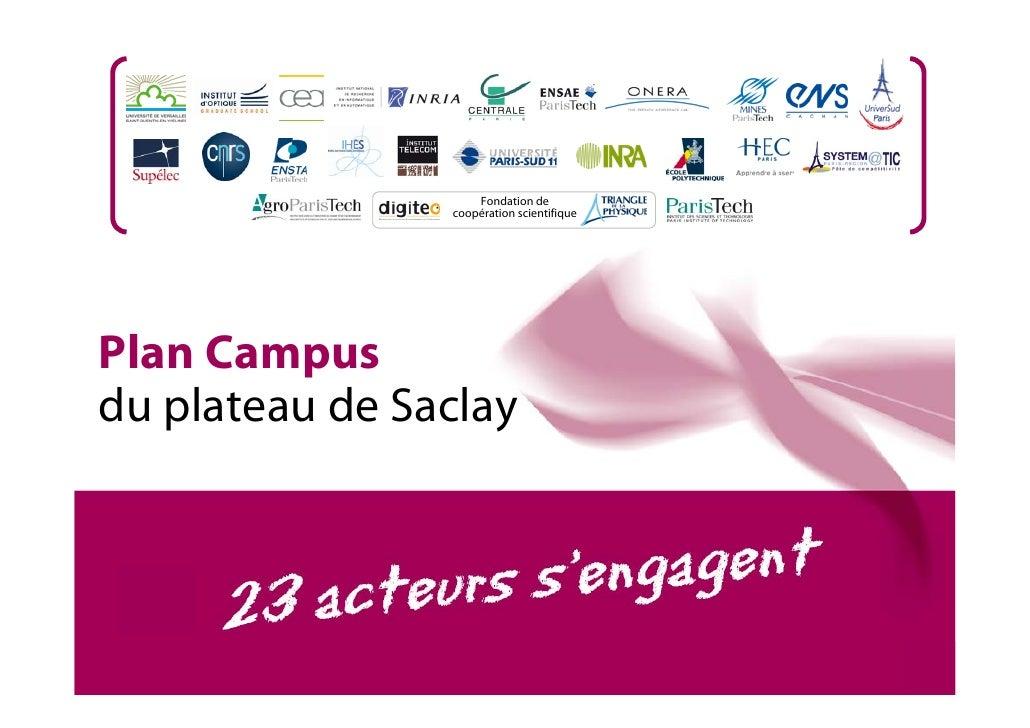 Fondation de                 coopération scientifique     Plan Campus du plateau de Saclay                                ...