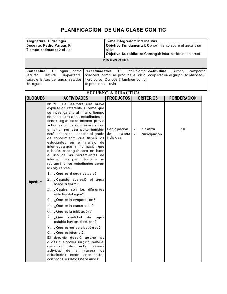 PLANIFICACION DE UNA CLASE CON TICAsignatura: Hidrología                           Tema Integrador: InternautasDocente: Pe...