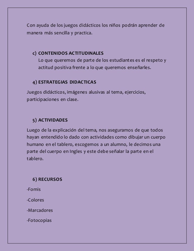 plan de clase ingles Selección de trucos y actividades sobre cómo enseñar inglés a  ayudándoles a  familiarizarse con él o complementando las clases a las que.
