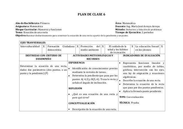 PLAN DE CLASE 6Año de Bachillerato: Primero Área: MatemáticaAsignatura: Matemática Docente: Ing. María José Arroyo ArroyoB...