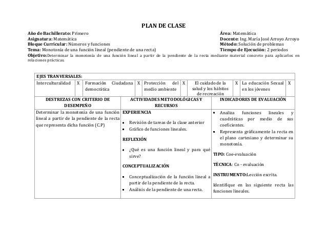 PLAN DE CLASEAño de Bachillerato: Primero Área: MatemáticaAsignatura: Matemática Docente: Ing. María José Arroyo ArroyoBlo...
