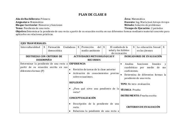 PLAN DE CLASE 8Año de Bachillerato: Primero Área: MatemáticaAsignatura: Matemática Docente: Ing. María José Arroyo ArroyoB...