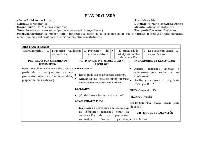 PLAN DE CLASE 9Año de Bachillerato: Primero Área: MatemáticaAsignatura: Matemática Docente: Ing. María José Arroyo ArroyoB...