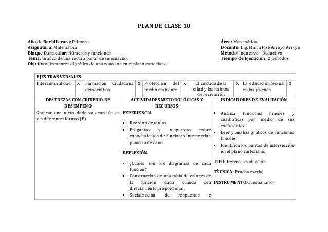PLAN DE CLASE 10Año de Bachillerato: Primero Área: MatemáticaAsignatura: Matemática Docente: Ing. María José Arroyo Arroyo...