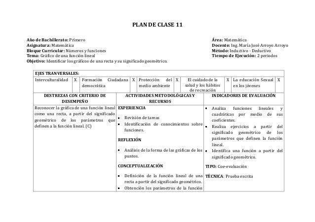 PLAN DE CLASE 11Año de Bachillerato: Primero Área: MatemáticaAsignatura: Matemática Docente: Ing. María José Arroyo Arroyo...