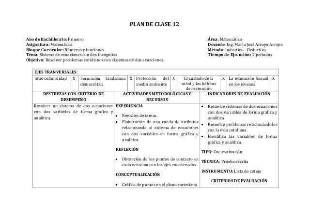 PLAN DE CLASE 12Año de Bachillerato: Primero Área: MatemáticaAsignatura: Matemática Docente: Ing. María José Arroyo Arroyo...