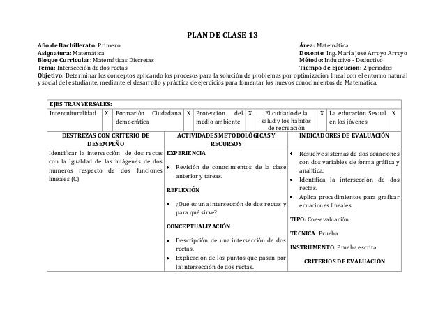 PLAN DE CLASE 13Año de Bachillerato: Primero Área: MatemáticaAsignatura: Matemática Docente: Ing. María José Arroyo Arroyo...
