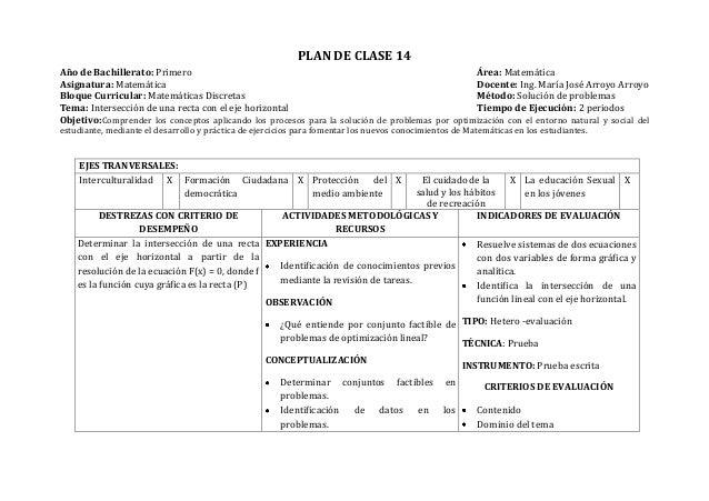 PLAN DE CLASE 14Año de Bachillerato: Primero Área: MatemáticaAsignatura: Matemática Docente: Ing. María José Arroyo Arroyo...