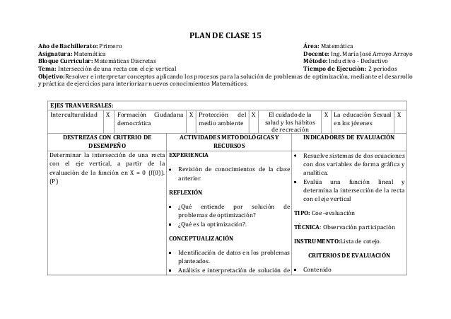 PLAN DE CLASE 15Año de Bachillerato: Primero Área: MatemáticaAsignatura: Matemática Docente: Ing. María José Arroyo Arroyo...