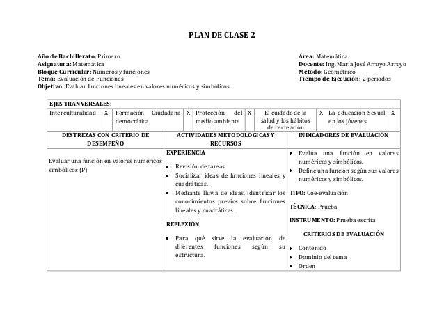 PLAN DE CLASE 2Año de Bachillerato: Primero Área: MatemáticaAsignatura: Matemática Docente: Ing. María José Arroyo ArroyoB...