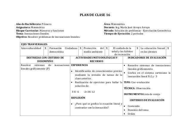 PLAN DE CLASE 16Año de Bachillerato: Primero Área: MatemáticaAsignatura: Matemática Docente: Ing. María José Arroyo Arroyo...