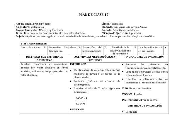 PLAN DE CLASE 17Año de Bachillerato: Primero Área: MatemáticaAsignatura: Matemática Docente: Ing. María José Arroyo Arroyo...