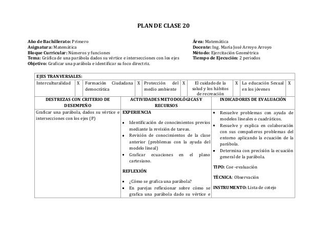 PLAN DE CLASE 20Año de Bachillerato: Primero Área: MatemáticaAsignatura: Matemática Docente: Ing. María José Arroyo Arroyo...