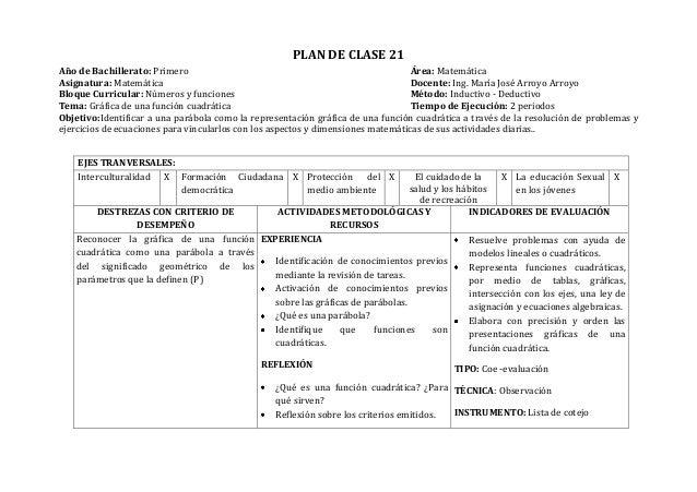 PLAN DE CLASE 21Año de Bachillerato: Primero Área: MatemáticaAsignatura: Matemática Docente: Ing. María José Arroyo Arroyo...