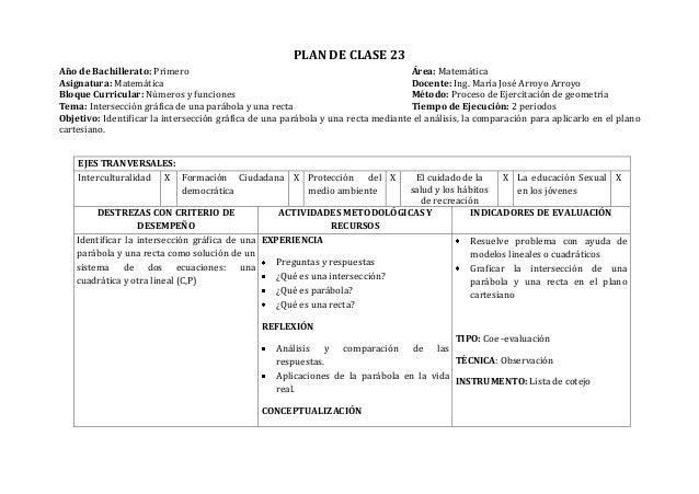 PLAN DE CLASE 23Año de Bachillerato: Primero Área: MatemáticaAsignatura: Matemática Docente: Ing. María José Arroyo Arroyo...