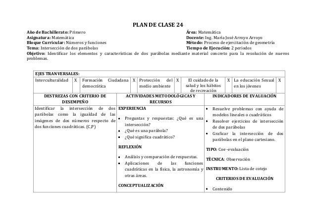 PLAN DE CLASE 24Año de Bachillerato: Primero Área: MatemáticaAsignatura: Matemática Docente: Ing. María José Arroyo Arroyo...