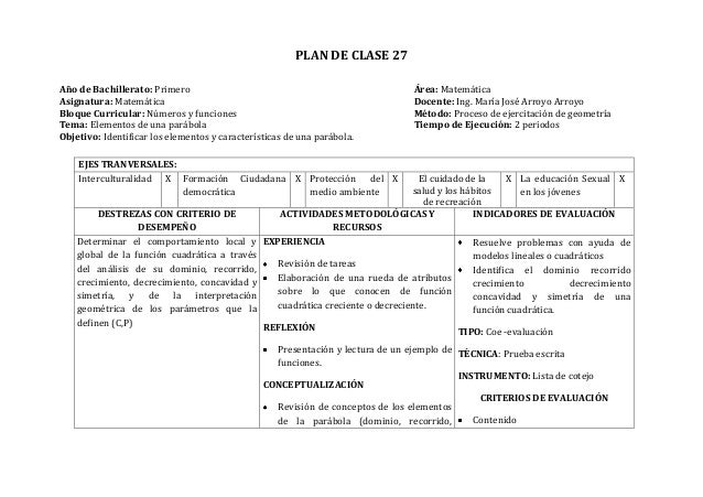 PLAN DE CLASE 27Año de Bachillerato: Primero Área: MatemáticaAsignatura: Matemática Docente: Ing. María José Arroyo Arroyo...